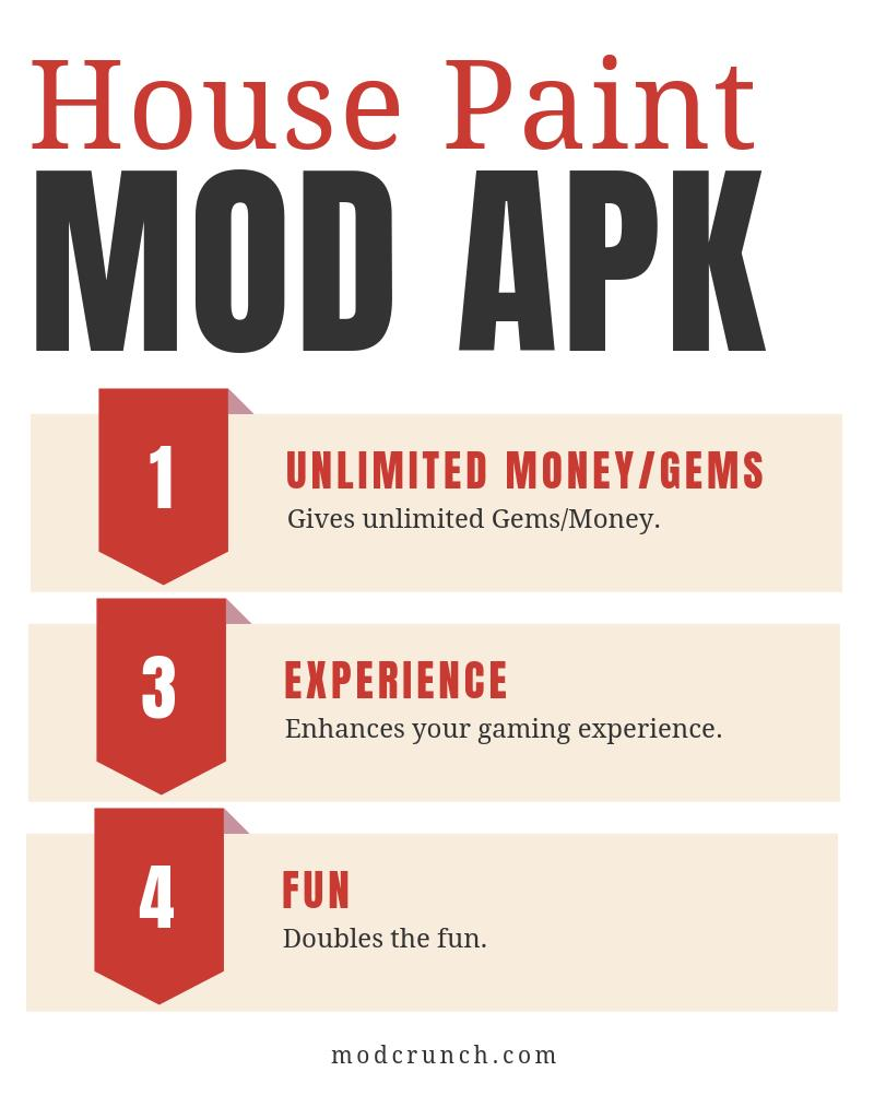 Features of house paint mod apk